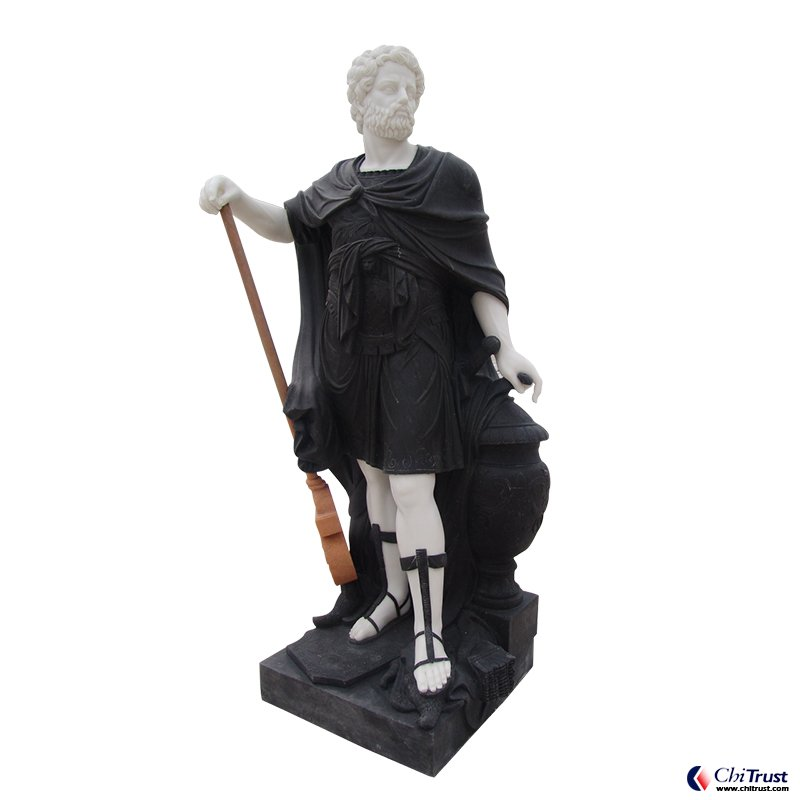 Black and white marble hero statue