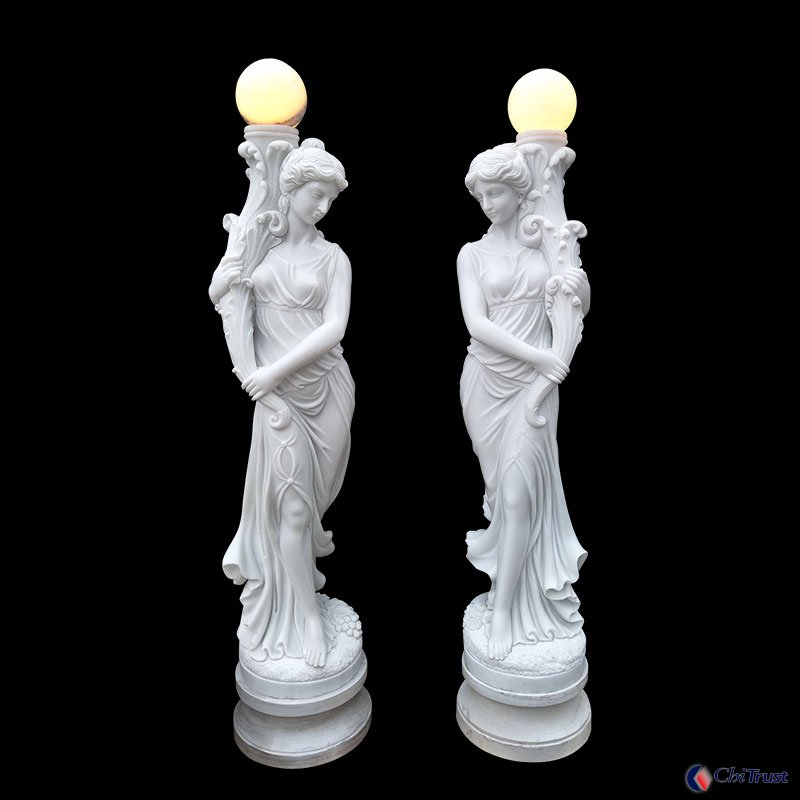 Customized carving decoration statue with lamp