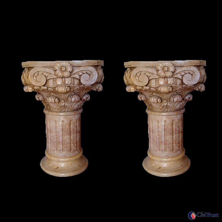 Hand carved decorative stone column